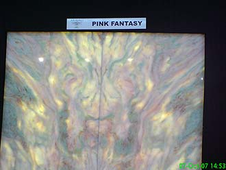 Pink fantasy slabs Beautiful granite, onyx, marble and travertine slabs. Best Suppliers of granite slabs in the world. Exquisite and exclusive granites and marbles.  London Granite at Verona Stone Fair. Fantastic and new natural stone surfaces for your granite worktops, kitchen worktops, marble tops, travertine floors and shower/Jacuzzi enclosures.